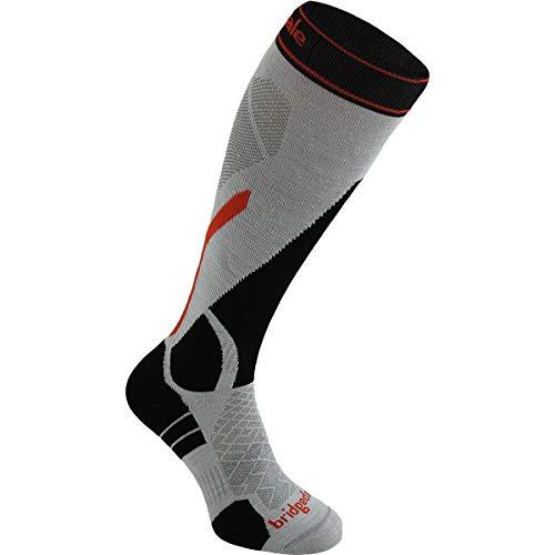 Bridgedale Men's Lightweight Ski - Merino Endurance Socks, Silver/Black, Medium ()