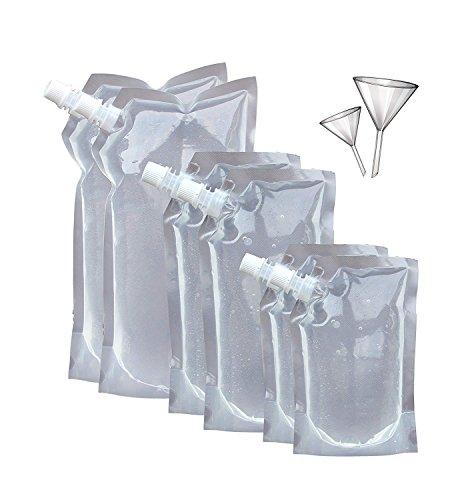 Secret Flasks Cruise Liquor Bag Kit SIX (6) Durable Reusable Flasks With 2 Funnels ()