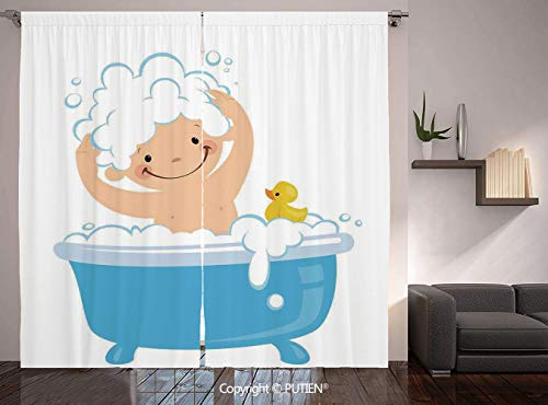 Thermal Insulated Blackout Window Curtain [ Nursery,Baby Boy with Smiley Face Having Bubble Bath with Rubber Duck Kids Theme Art,White and Blue ] for Living Room Bedroom Dorm Room Classroom Kitchen Ca -