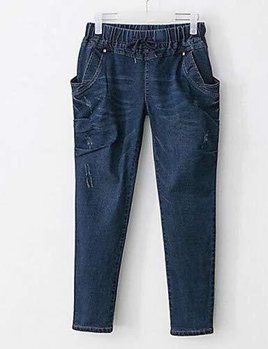 YFLTZ Pantalon Jeans en Coton pour Femme - Solid Colored Hole Blue