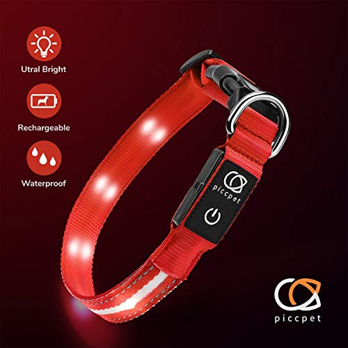 Piccpet LED Dog Collar, USB Rechargeable & Water Resistant, 3 LED Flashing Mode, Makes Your Dog Glow at Night, Soft Polyester Webbing Dog Necklace, Dog Collars for Small Medium Large Dogs