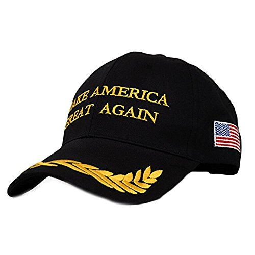 YAKER Make America Great Again- Donald Trump 2016 Campaign Cap Hat Unisex-Adult Adjustable Snapback Hat with US Flag (A Black)