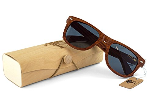 Real Solid Handmade Wooden Sunglasses for Men, Polarized Lenses with Gift Box 2 QUALITY YOU CAN DEPEND ON. Each and every pair of our sunglasses are unique, hand-selected and packaged in the USA. We care about our customers. Not satisfied? Let us know. We'll do our best to make it right. YOUR EYES ARE IMPORTANT! Premium UV400 polarized sunglasses that reduce the glare reflected off roads, water, snow, and other surfaces. Designed to provide long lasting protection for your eyes. PERFECT GIFT FOR YOURSELF OR THAT SPECIAL SOMEONE. Whether it's a birthday, anniversary, Valentine's Day, Father's Day, Graduation, or Christmas, our sunglasses make a fantastic gift. Another bonus? We've included a great looking gift box and microfiber cleaning cloth.