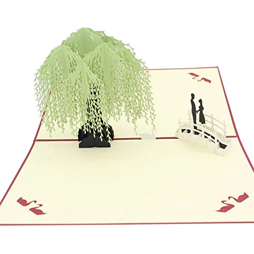 Smartcoco 3D Handmade Greeting Card Postcard Birthday Blessing Christmas Card Red Cover Willow Tree (Blessing Postcard)