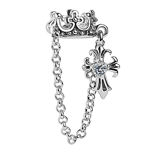 Pierced Owl Crown and Dangling Crystal Cross Chained Non-Piercing Ear Cuff