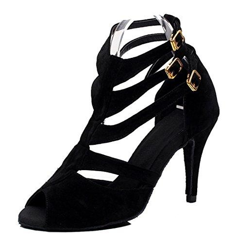 TDA - Zapatos con tacón mujer 8.5cm Heel Suede Black