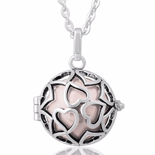 EUDORA Harmony Bola Endless Love Locket Pandent Necklace 20mm Musical Chime Ball & 30'' Chain Peach