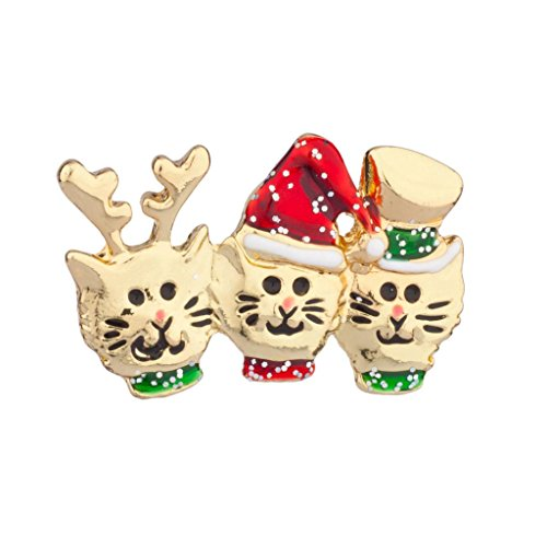 Lux Accessories Cat In Hat Reindeer Xmas Christmas Brooch Pin
