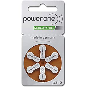 Hearing Aid Battery Powerone Size 312 60 Batteries No Mercury, 2 Pack