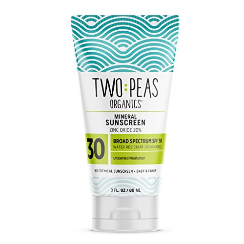 Two Peas Organics SPF 30 Mineral Sunscreen for Women, Men, Kids & Baby Friendly, Coral Reef Safe Natural Sun Screen Lotion, Waterproof & Unscented, 3oz