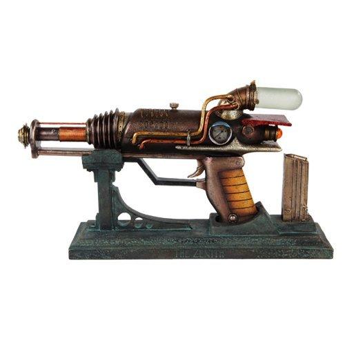 [12 Inch Steampunk Inspired Hand Gun with Stand Statue Figurine] (Steampunk Decorations)