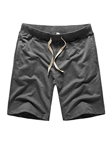 DAVID.ANN Men's Cotton Workout Gym Short Casual Classic Fit Bodybuilding Training Joggers,Dark (Casual Cotton Short)