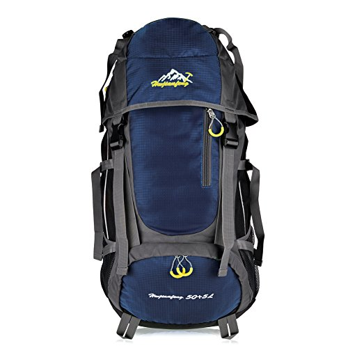 Vbiger Large Capacity 55L Lightweight Travel Water Resistant Backpack / Mountaineering Hiking Daypack (Navy Blue, 55L) (55l Backpack)