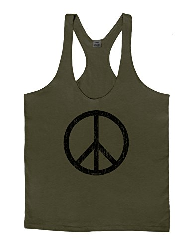 TooLoud Peace Sign Symbol - Distressed Mens String Tank Top - Army Green - Medium (70s Outfits For Men)