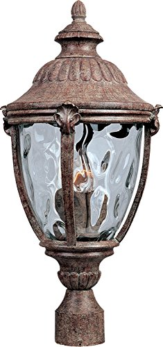Maxim 3181WGET Morrow Bay Cast 3-Light Outdoor Pole/Post Lantern, Earth Tone Finish, Water Glass Glass, CA Incandescent Incandescent Bulb , 40W Max., Dry Safety Rating, Flax Fabric Shade Material, Rated Lumens