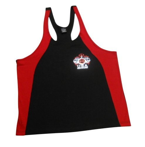 NPC Fat Strap Cotton Tank Top w/ Biceps Logo-Black/Red--XXL (Npc Tank Top)