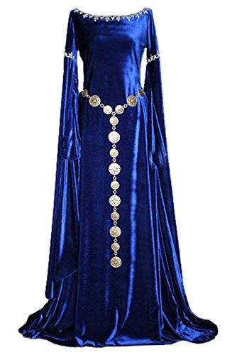 ValorSoul Renaissance Costumes Dress for Women Trumpet Sleeves Fancy Medieval Gothic Lace Up Dress (L, Blue)
