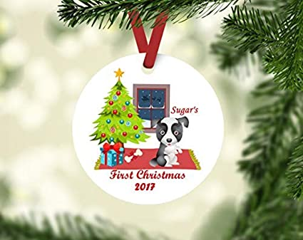 Amazon Com Qmsing Border Collie Ornament Personalized Christmas