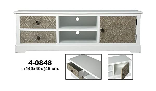 SuskaRegalos-MUEBLE TV MADERA REPUJADA BLANCO/MARRON: Amazon ...