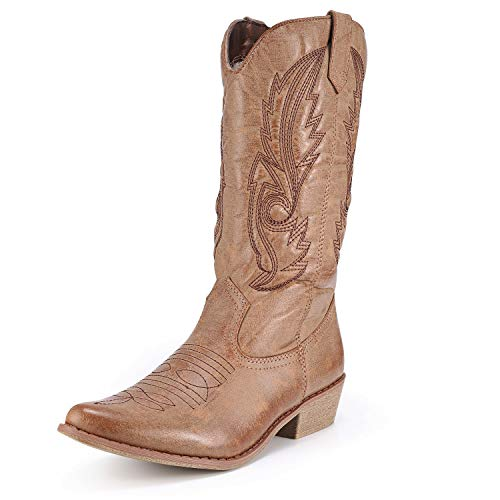 Freemin Women's Western Cowboy Boots Mid Calf Pointed Toe Cowgirl Style Tan US 9.5 Cowboy Mid Calf Boot