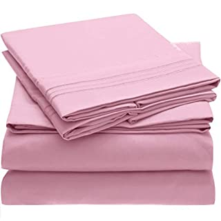Mellanni Bed Sheet Set Brushed Microfiber 1800 Bedding - Wrinkle, Fade, Stain Resistant - Hypoallergenic - 4 Piece (King, Pink) (B01DN0AV70) | Amazon price tracker / tracking, Amazon price history charts, Amazon price watches, Amazon price drop alerts