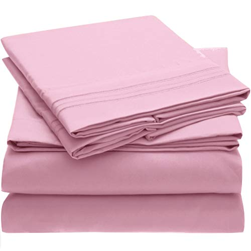 Mellanni Bed Sheet Set Brushed Microfiber 1800 Bedding - Wrinkle, Fade, Stain Resistant - Hypoallergenic - 4 Piece (Full, Pink) (Pink Sheet Set Full)