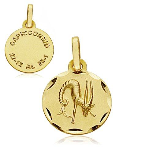Médaille pendentif Capricorne horoscope 18k 13mm d'or. signe du zodiaque [AA7399GR] - personnalisable - ENREGISTREMENT inclus dans le prix