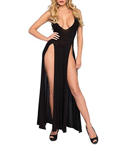 (Women High Split Sleeveless Long Maxi Dresses Deep V Neck Sexy Lingerie Dress (Black, M))