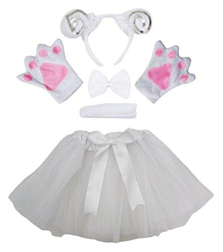 Petitebella Silver Sheep White Headband Bowtie Glove Skirt Girl 5pc Costume (One Size) (Sheep Costume For Kids)
