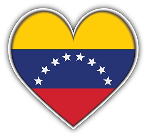 Venezuela Heart World Flag Art Decor Bumper Sticker 5'' x 5'' -