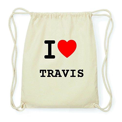 JOllify TRAVIS Hipster Turnbeutel Tasche Rucksack aus Baumwolle - Farbe: natur Design: I love- Ich liebe