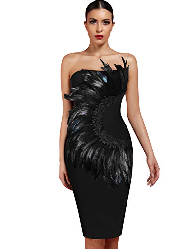 Whoinshop Women's Sexy Off Shoulder Feather Bandage Evening Club Party Dress (XS, Black-2) -