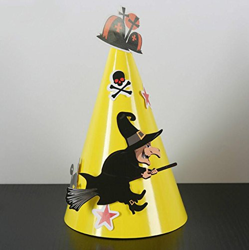Kinue Novelty Party Decor Halloween Decoration DIY Witch Rides A Broom Pattern Cone Cap_Yellow -