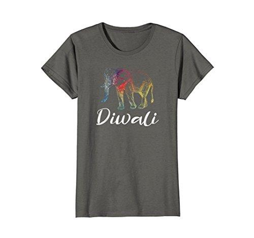 Womens Diwali Elephant Apparel T Shirt for the Festival of Lights Medium Asphalt by Diwali Novelty T Shirts and More
