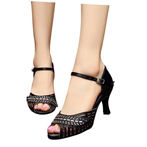 toe Salsa Tango Dance Practice Practique latina Sandalias toe with Ballroom salón 75 Latin con Shoes 2 mujer Salsa de Peep Tango peep zapatos de Sandals Misu Misu 2 Women's para 75 baile 4KqRw0gpp