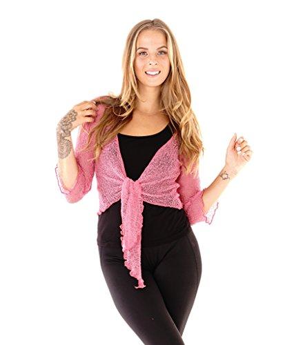 (SHU-SHI Womens Sheer Shrug Tie Top Cardigan Lightweight Knit,Pink,One Size)