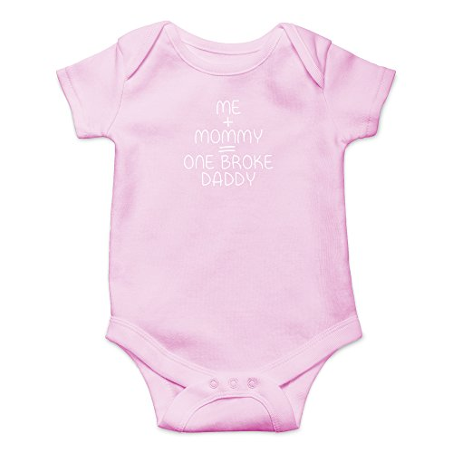 Crazy Bros Tees Me + Mommy = One Broke Daddy Funny Cute Novelty Infant One-Piece Baby Bodysuit (6 Months, Pink) -