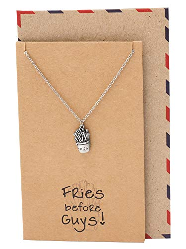 Quan Jewelry Gifts for Food Lovers, Fries Pendant Charm Necklace, Funny Gifts for Best Friends, Chef Jewelry with Funny Greeting Card
