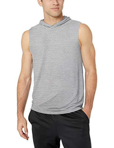 (Amazon Essentials Men's Tech Stretch Sleeveless Performance Hoodie, Light Grey Space dye, Large)