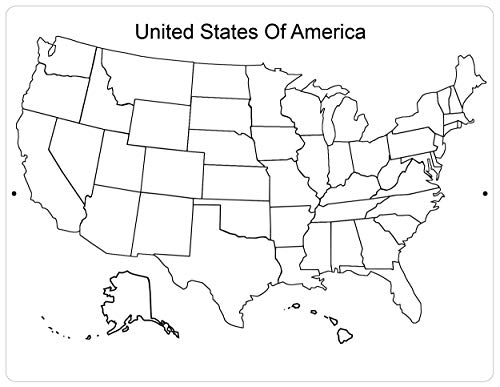 Import Wholesales The United States of America USA Map Aluminum Sign Black & White Classroom Geography Plaque 12
