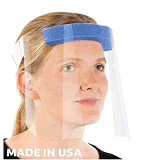 R20 Protective Face Shields with Clear Vision, Adjustable, Lightweight and Anti-Fog For Eye Protection. Made in The USA (2 Pack)
