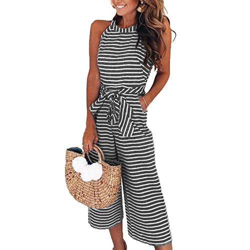 Leorvun Women's Casual Maxi Vertical Striped One Piece Jumpsuit Chambray Jumpsuits Romper Black - Stripe Jumpsuit