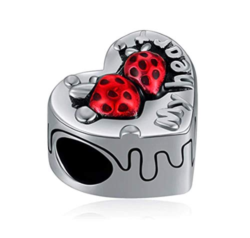 - EVESCITY Many Styles Silver Pendents 925 Sterling Beads Fits Pandora, Similar Charm Bracelets & Necklaces (Red Enamel Strawberry Cake My Heart)