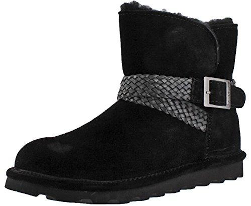 BEARPAW Womens Brienne Suede/Wool/Sheepskin Ankle-High Sheepskin Boot Black Ii