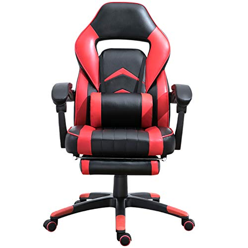 Samincom Ergonomic High-Back Gaming Chair, Racing Chair Office Desk Chair Swivel PU (red-Black)