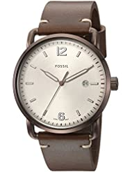 Fossil Mens The Commuter 3H Date Quartz Stainless Steel and Leather Casual Watch, Color Brown (Model: FS5341)
