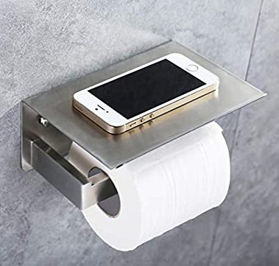 Toilet Paper Holder, APL SUS304 Stainless Steel Bathroom Tissue Roll Holder with Mobile Phone Storage Shelf Wall Mounted