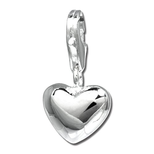 (SilberDream Charm shiny heart 925 Sterling Silver Pendant Lobster Clasp FC3144)