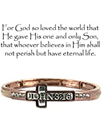 "John 3:16"" For God So Loved Engraved Copper-tone Stretch Bracelet By Athena Brand"