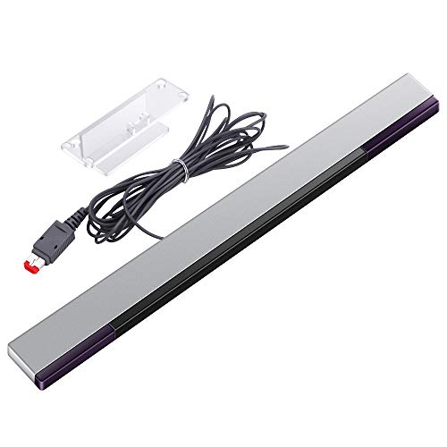 Antenna Compatible Replacement Original - KIMILAR Replacement Wired Infrared IR Ray Motion Sensor Bar Compatible Nintendo Wii and Wii U Console (Silver/Black)